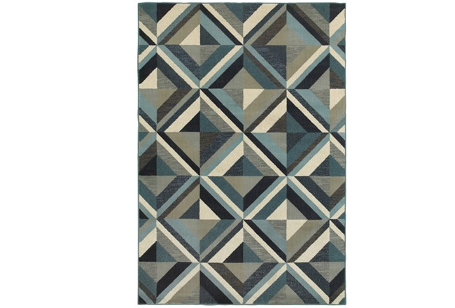 118X154 Rug-Retro Diamonds Blue - 360