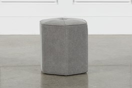 Grey Upholstered Stool