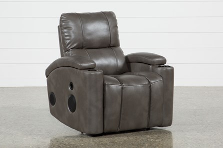 Landau Taupe Power Recliner With Bluetooth Speakers