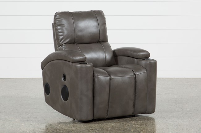 Landau Taupe Power Recliner With Bluetooth Speakers - 360