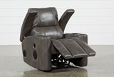 Landau Taupe Power Recliner With Bluetooth Speakers - Right
