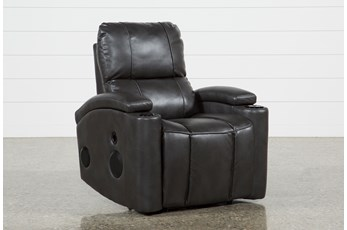 Landau Slate Power Recliner With Bluetooth Speakers