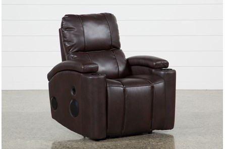 Landau Chocolate Power Recliner With Bluetooth Speakers - Main