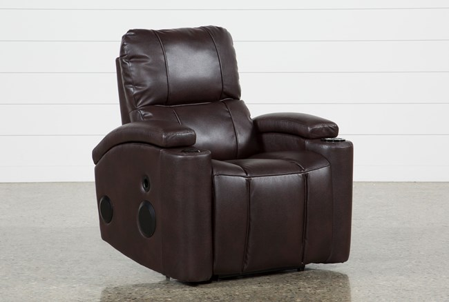 Landau Chocolate Power Recliner With Bluetooth Speakers - 360