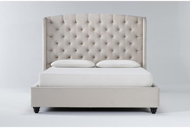 Mariah California King Velvet Upholstered Panel Bed - 360