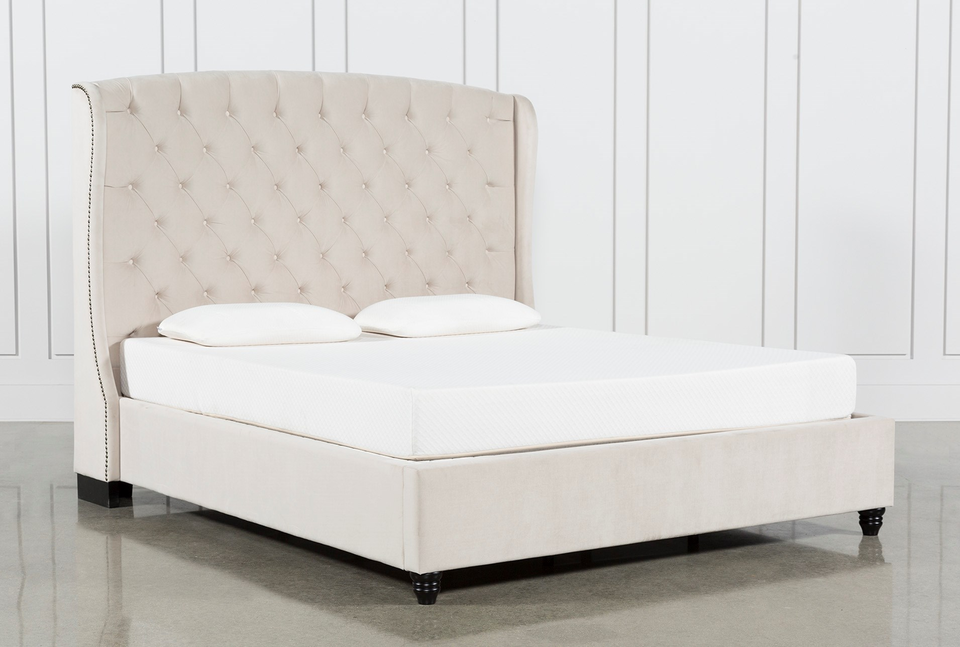 Mariah Eastern King Upholstered Panel Bed Living Spaces