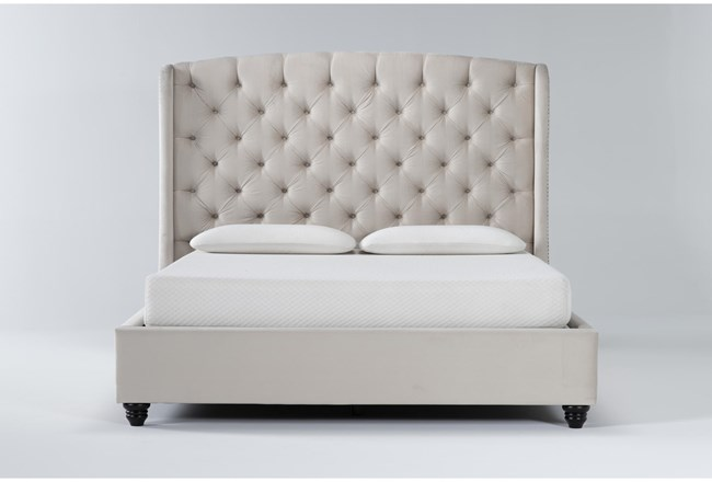 Mariah Eastern King Velvet Upholstered Panel Bed - 360
