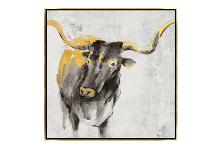 Picture-36X36 A Cow In Golden Rays Framed