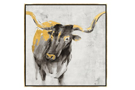 Picture-30X30 A Cow In Golden Rays Framed - Main