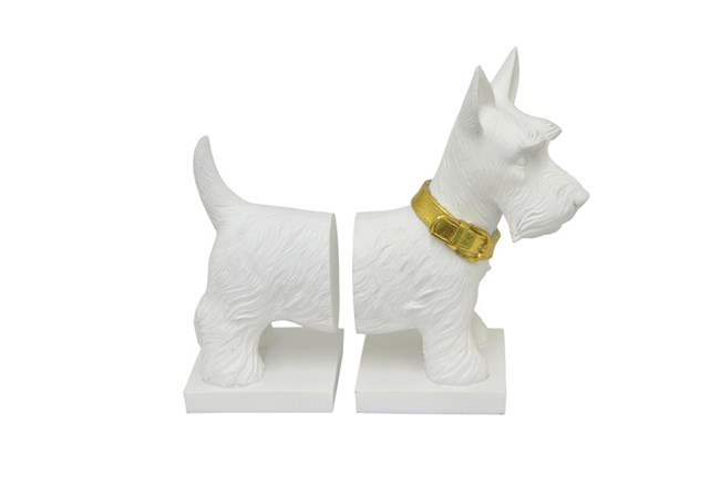 Youth-White Resin Dog Bookend - 360