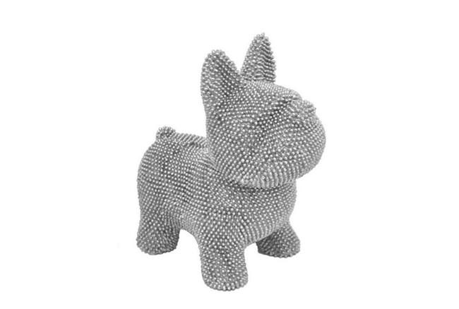 Silver Resin Dog Money Bank - 360