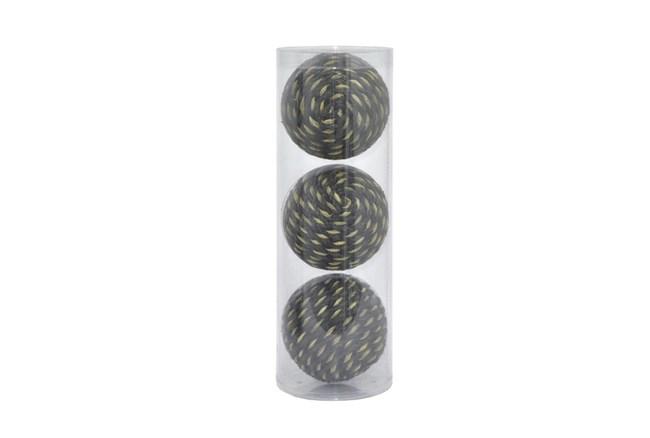 3 Piece Set Black Decorative Orb - 360