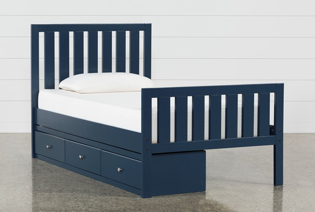 Taylor Navy Twin Slat Panel Bed With 3- Drawer Storage - 360