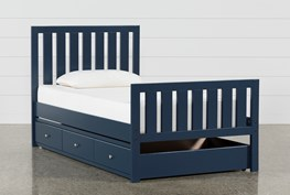 Taylor Navy Twin Slat Panel Bed With Trundle