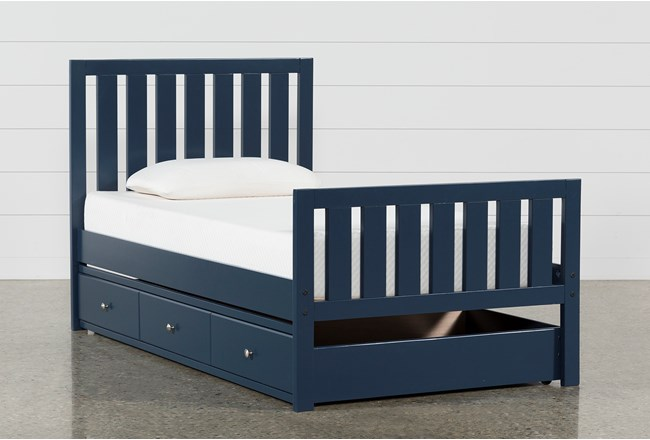 Taylor Navy Twin Slat Panel Bed With Trundle - 360