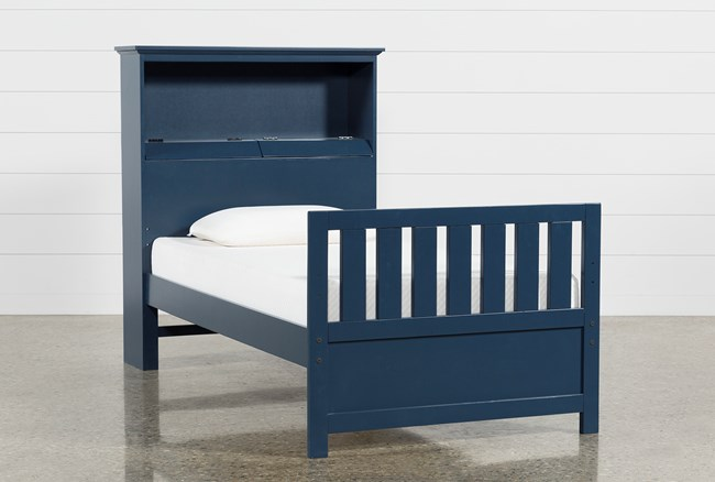 Taylor Navy Twin Bookcase Bed - 360