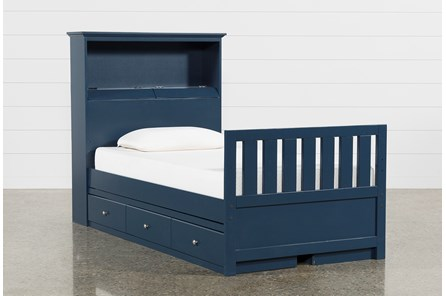 Taylor Navy Twin Bookcase Bed With Double 3-Drawer Storage and USB