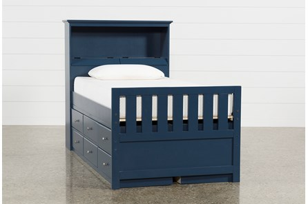 Taylor Navy Twin Bookcase Bed With Double 6- Drawer Storage - Main