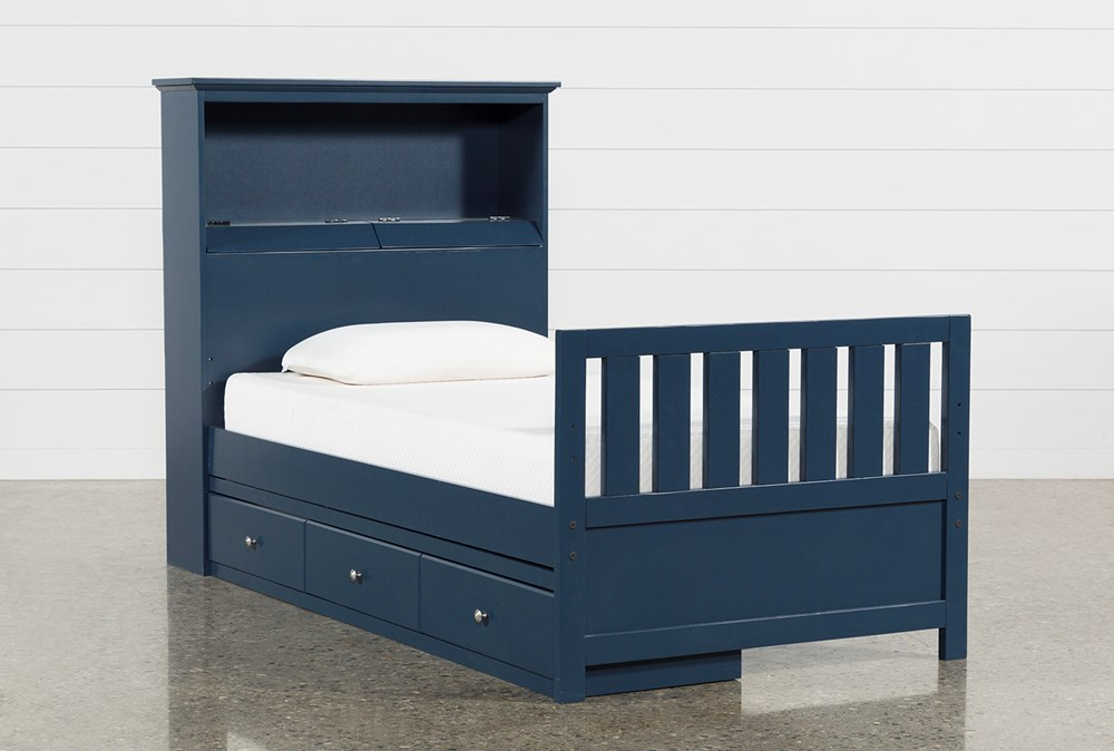 Taylor Navy Twin Bookcase Bed With Single 3-Drawer Storage and USB