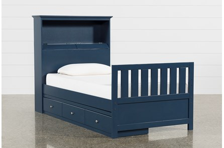 Taylor Navy Twin Bookcase Bed With Single 3- Drawer Storage - Main