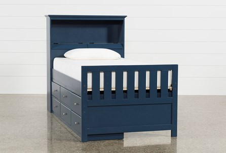 Taylor Navy Twin Bookcase Bed With Single 6- Drawer Storage
