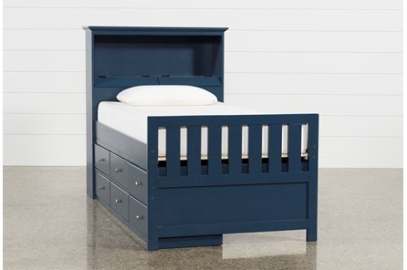 Taylor Navy Twin Bookcase Bed With Single 6- Drawer Storage - Main