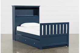 Taylor Navy Twin Bookcase Bed With Trundle and USB