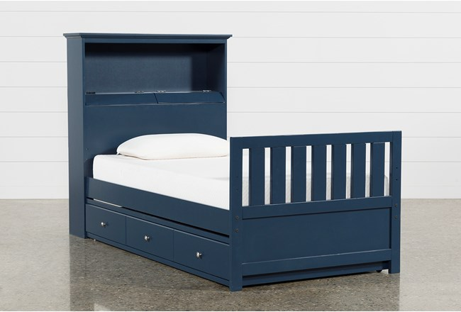 Taylor Navy Twin Bookcase Bed With Trundle and USB - 360