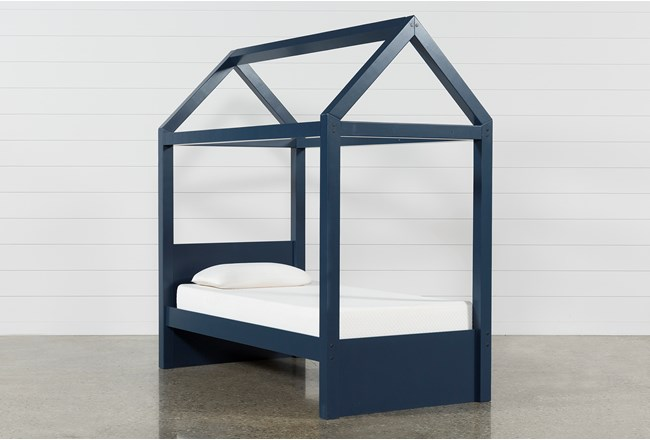 Taylor Navy Twin Canopy House Bed - 360