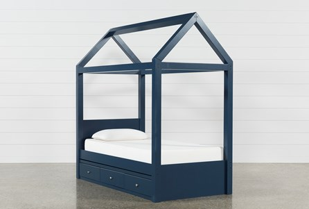 Taylor Navy Twin Canopy Bed With 3- Drawer Storage