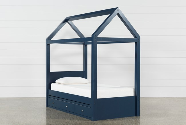 Taylor Navy Twin Canopy House Bed With 3- Drawer Storage - 360