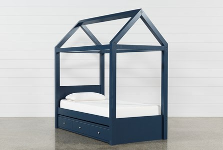 Taylor Navy Twin Canopy Bed With Trundle