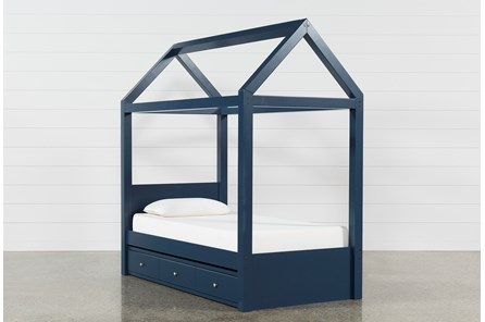 Taylor Navy Twin Canopy House Bed With Trundle
