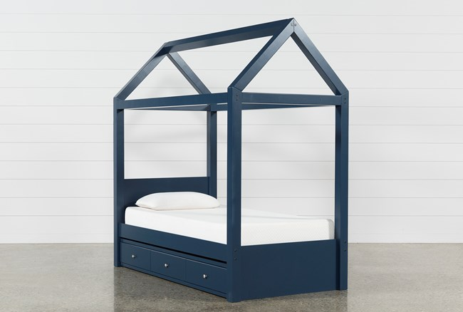 Taylor Navy Twin Canopy House Bed With Trundle - 360