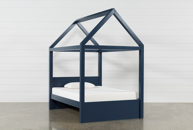 Taylor Navy Full Canopy House Bed - 360