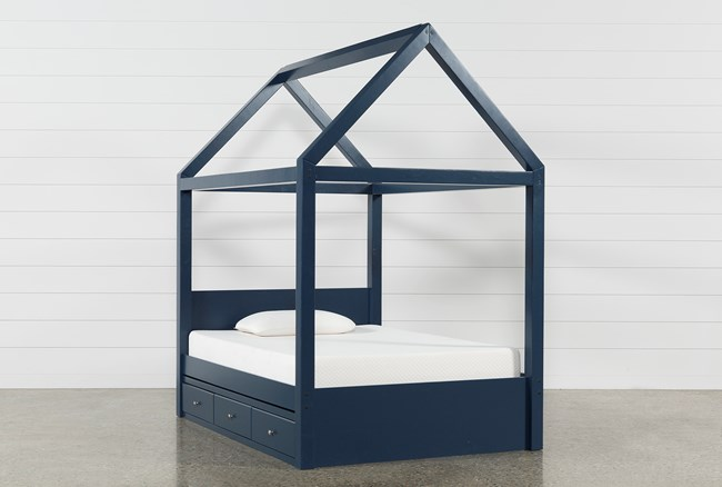 Taylor Navy Full Canopy House Bed With 3- Drawer Storage - 360