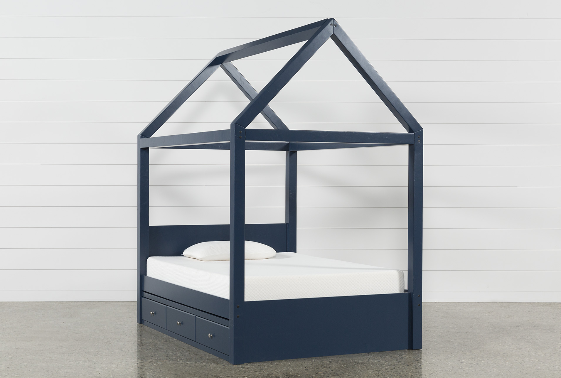 Taylor Navy Full Canopy House Bed With 3- Drawer Storage (Qty 1) has been successfully added to your Cart. & Taylor Navy Full Canopy House Bed With 3- Drawer Storage | Living Spaces