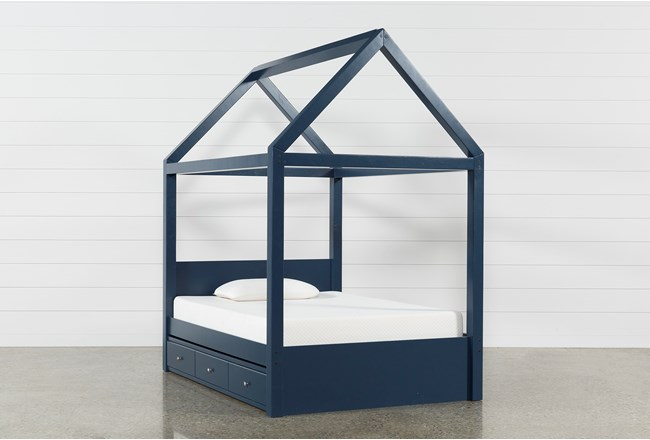 Taylor Navy Full Canopy House Bed With Trundle - 360