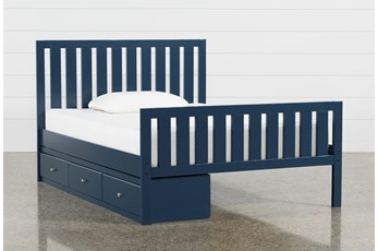 Taylor Navy Full Slat Panel Bed With 3- Drawer Storage