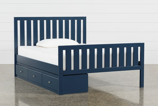 Taylor Navy Full Slat Panel Bed With 3- Drawer Storage - 360