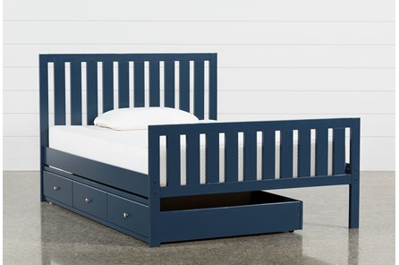 Taylor Navy Full Slat Panel Bed With Trundle - Main