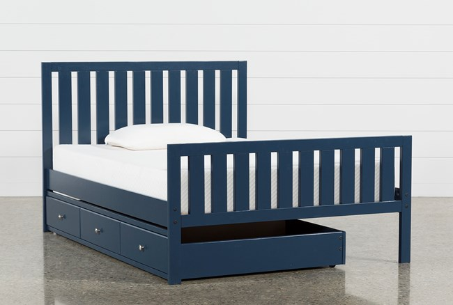 Taylor Navy Full Slat Panel Bed With Trundle - 360