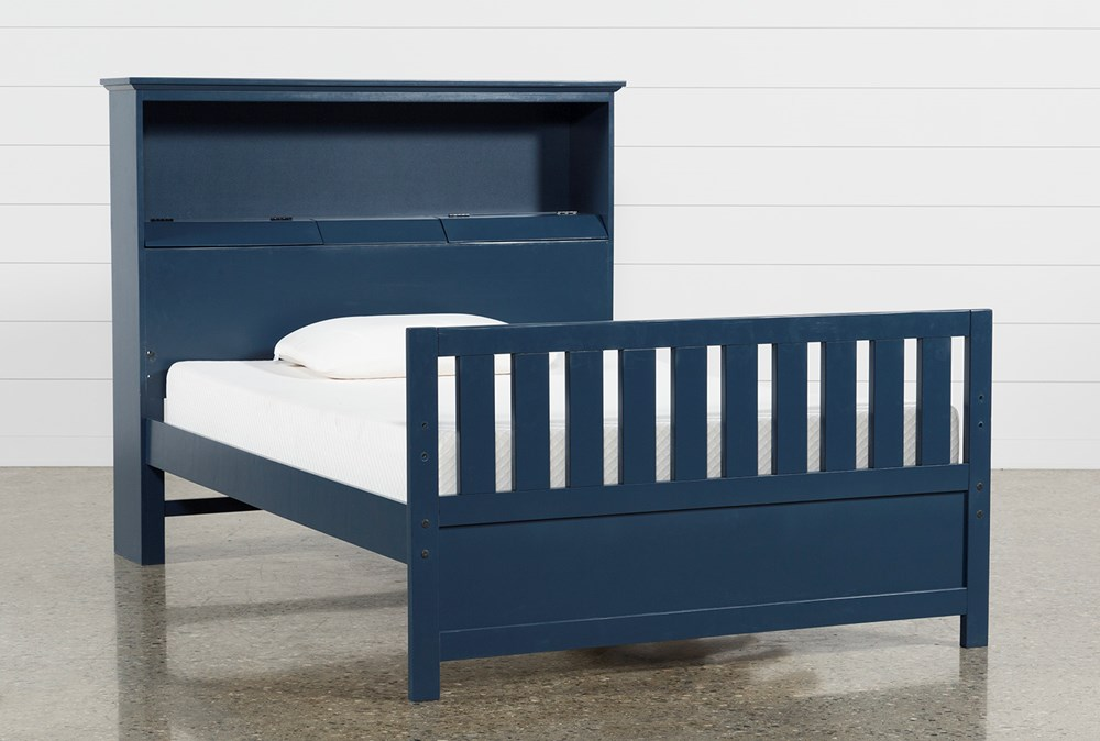 Taylor Navy Full Bookcase Bed With USB