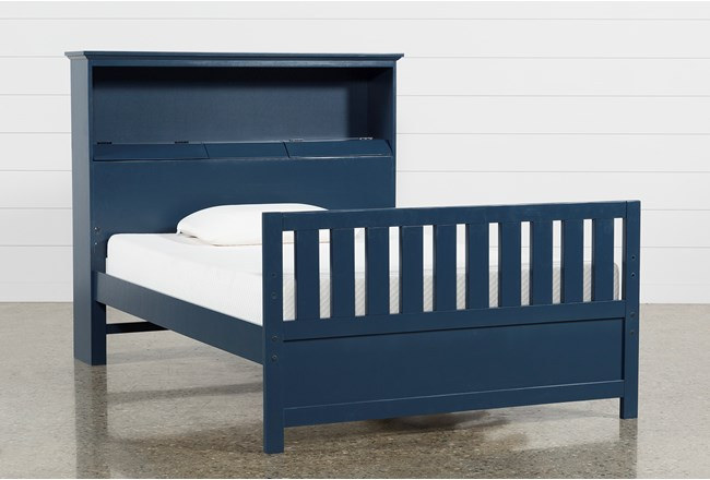 Taylor Navy Full Bookcase Bed With USB - 360