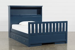 Taylor Navy Full Bookcase Bed With Double 3- Drawer Storage