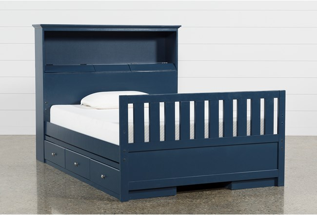Taylor Navy Full Bookcase Bed With Double 3-Drawer Storage and USB - 360