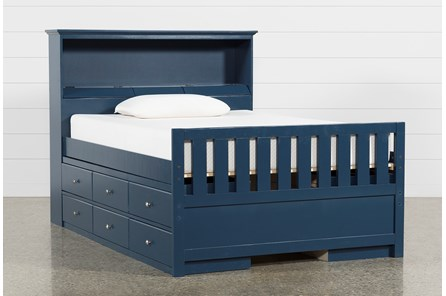 Taylor Navy Full Bookcase Bed With Double 6- Drawer Storage - Main