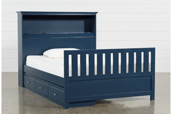 Taylor Navy Full Bookcase Bed With Single 3-Drawer Storage and USB