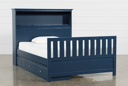 Taylor Navy Full Bookcase Bed With Single 3- Drawer Storage