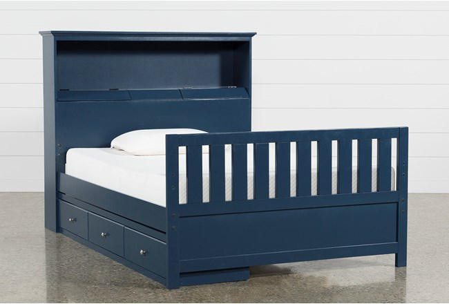 Taylor Navy Full Bookcase Bed With Single 3-Drawer Storage and USB - 360